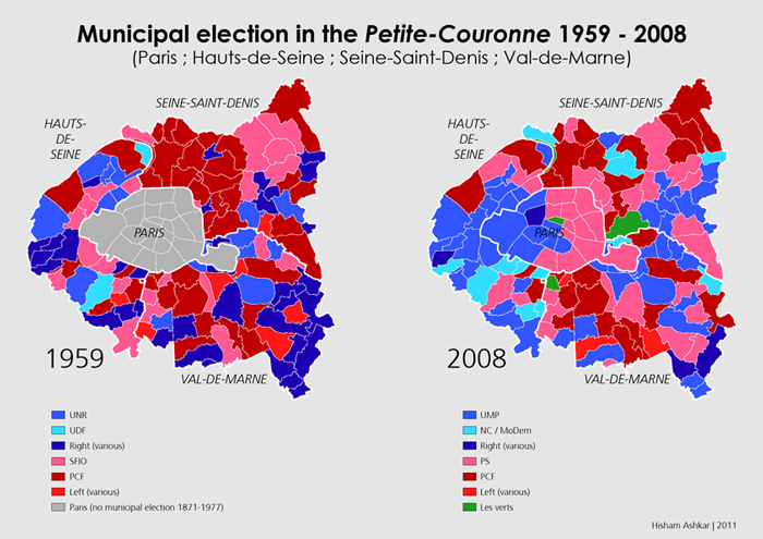 Map of the Municipal elections Paris and its suburbs 19592008 – Map of Paris and Suburbs