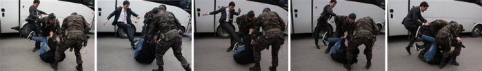 Photos, in a sequence, showing Erdoğan's aide, Yusuf Yerkel, kicking a protester in Soma. 14 May 2014 (source: AP)