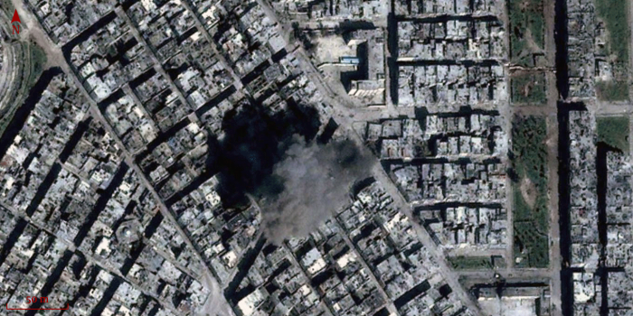Explosion in the neighbourhood of Khalidiya in Homs. 9/3/2013.